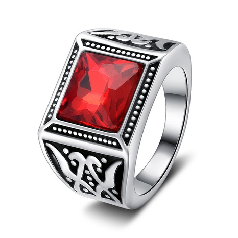 fashion simple platinum red zircon ring NHMO362160's discount tags