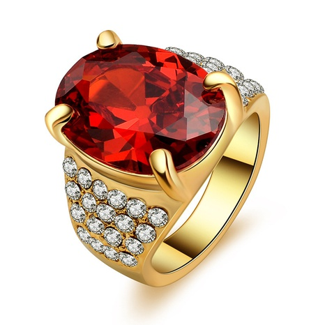 Retro crystal golden oval ruby ring set NHMO362164's discount tags