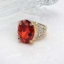 Retro crystal golden oval ruby ring set NHMO362164
