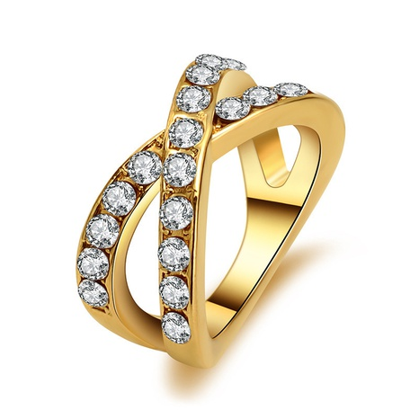 fashion crystal gold cross ring NHMO362165's discount tags