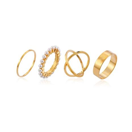 fashion geometric four-piece pearl ring set NHMO362166's discount tags
