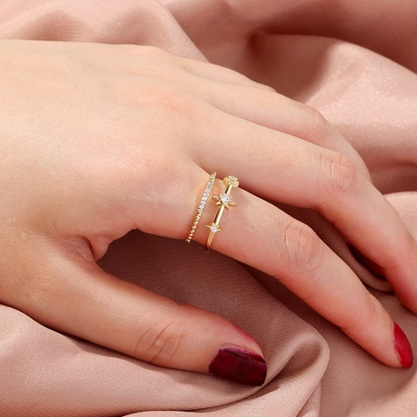 Fashion double gold opening sky star zircon ring NHAN362240's discount tags