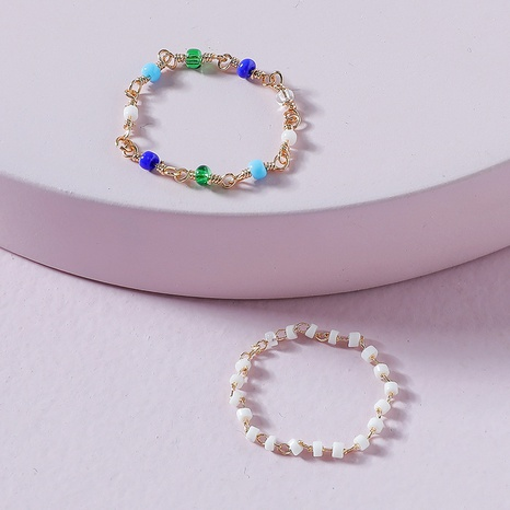 fashion color rice bead chain ring 2 sets NHLU362290's discount tags