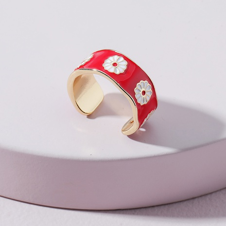 fashion color drip oil flower ring  NHLU362292's discount tags