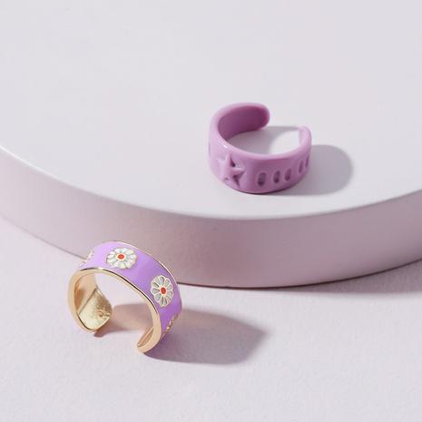 Fashion Daisy Resin Metal Ring Set NHLU362307's discount tags