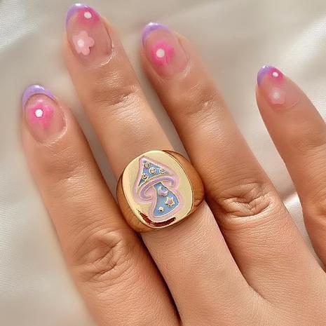 fashion metal color dripping oil mushroom ring NHLU362311's discount tags