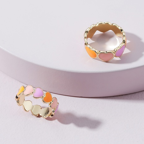 fashion dripping heart ring set NHLU362330's discount tags