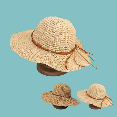 Korean fashion leather rope big eaves sun-proof straw hat NHAMD362403's discount tags