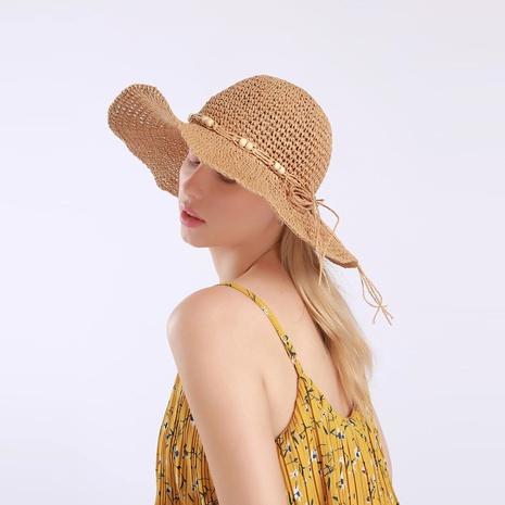 Korean fashion wooden bead big brimmed straw hat  NHAMD362408's discount tags