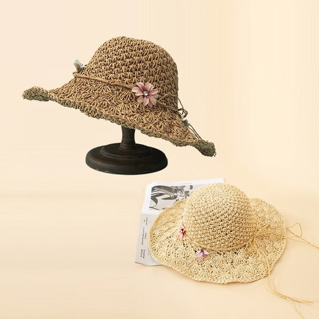Korean fashion sunscreen purple flower straw hat NHAMD362409's discount tags