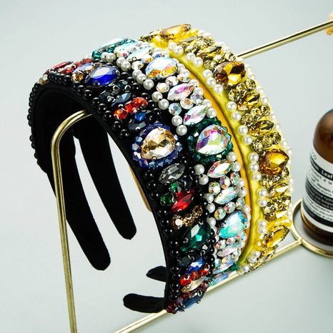 fashion drop-shaped glass diamond crystal cloth headband  NHLN362439's discount tags