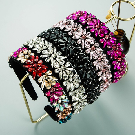 fashion glass rhinestone flower geometric headband NHLN362440's discount tags