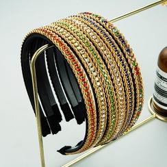 fashion simple twist chain rhinestone inlaid headband  NHLN362441
