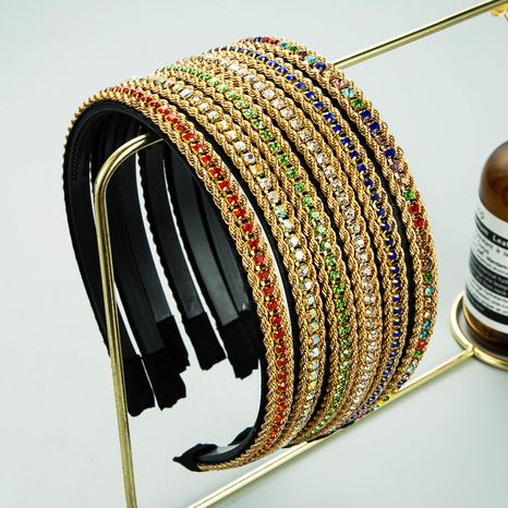 fashion simple twist chain rhinestone inlaid headband  NHLN362441's discount tags