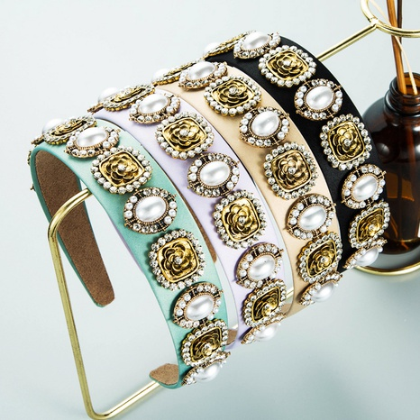 baroque alloy flower pearl rhinestone inlaid headband  NHLN362442's discount tags