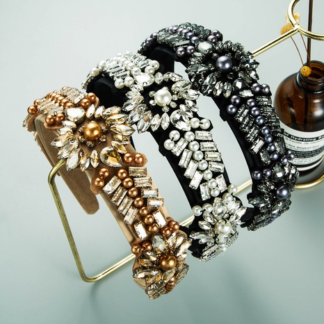 fashion glass diamond inlaid pearl flower wide-brimmed headband NHLN362443's discount tags