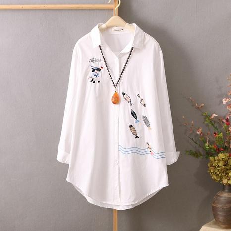 chemise mi-longue ample à manches longues blanche brodée à la mode NHZN362463's discount tags