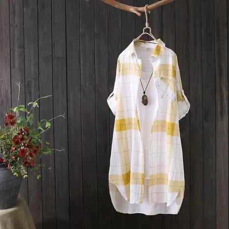 chemise mi-longue à carreaux lâche de mode en gros NHZN362462's discount tags