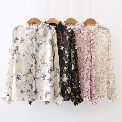 nouvelle chemise à manches lanterne en mousseline imprimée à la mode NHZN362460's discount tags