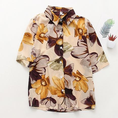 chemise en mousseline de soie à manches courtes ample à imprimé de fleurs de rhubarbe peinture à l'huile rétro NHZN362457's discount tags
