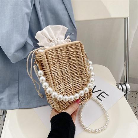 sac à bandoulière tissé à main en perles simples NHLH362501's discount tags