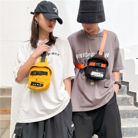 riñonera tipo mensajero con estampado de color en contraste hip-hop NHLH362511's discount tags