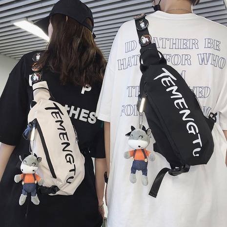 bolso de la cintura del mensajero del color del contraste de la impresión de la letra de la moda NHLH362526's discount tags
