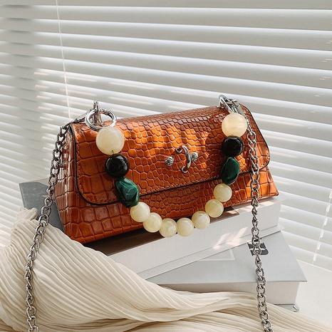 sac à main simple à bandoulière en chaîne perlée NHTG362648's discount tags