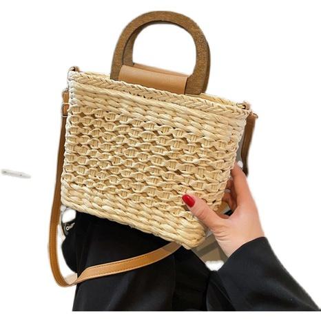 nouveau petit sac carré messager à bandoulière en paille tressée NHTG362653's discount tags