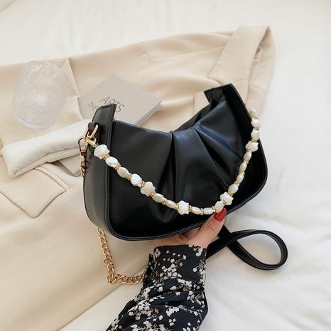 La chaîne de perles acryliques de style coréen plie le sac à aisselle à une seule épaule NHTG362657's discount tags