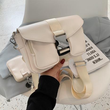 Petit sac carré simple à bandoulière large de couleur unie NHTG362669's discount tags