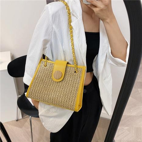 Petit sac carré en chaîne de messager à une épaule tissée en paille de style coréen NHAV362874's discount tags