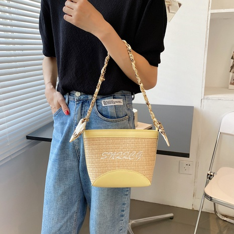 Petit sac carré messager en paille tissée à la mode coréenne NHAV362892's discount tags