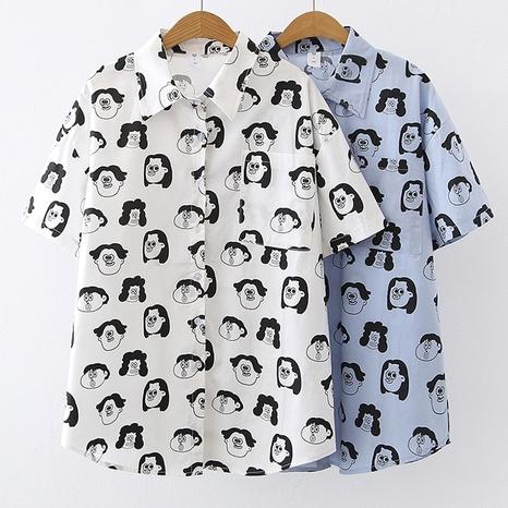 chemise à manches courtes décontractée à imprimé de mode NHZN364728's discount tags