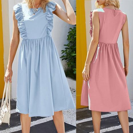 robe simple de couleur unie sans manches à la nouvelle taille NHJC364715's discount tags