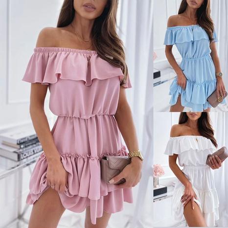 vente en gros robe bustier à la taille à volants NHJC364714's discount tags