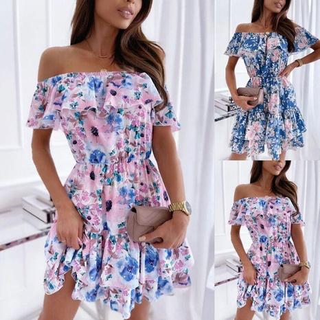 Vente en gros robe taille imprimée à la mode NHJC364713's discount tags
