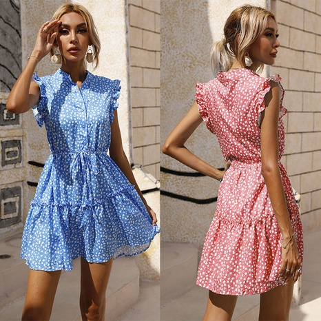 simple new waist small floral dress NHJC364707's discount tags