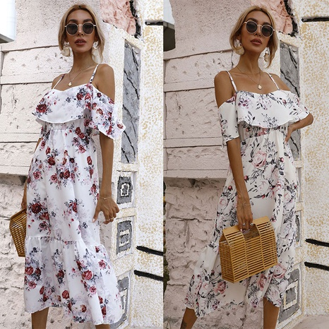 fashion waist printed off-the-shoulder suspender dress NHJC364706's discount tags