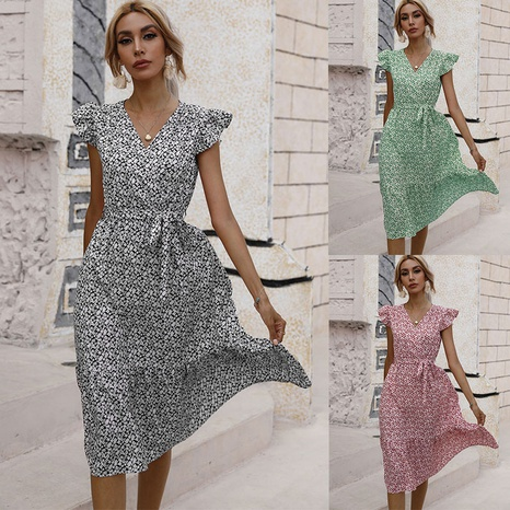 fashion waist V-neck small floral dress NHJC364930's discount tags