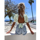 Fashion round neck small floral halter laceup top NHJG364656
