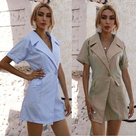 fashion plaid lapel short sleeve dress NHJC364657's discount tags