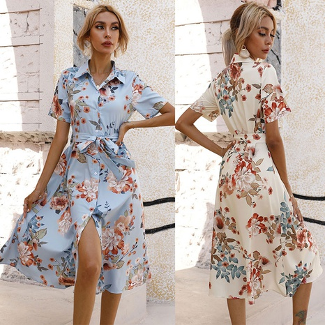 fashion single-breasted printed short-sleeved dress with waist NHJC364660's discount tags