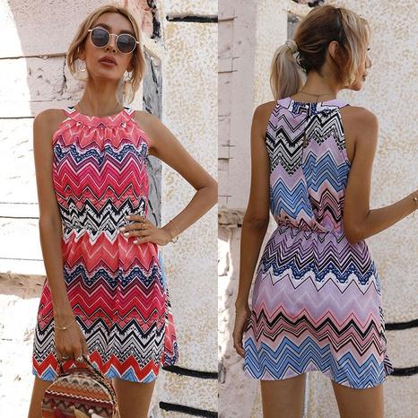 fashion sleeveless zigzag print dress wholesale  NHJC364661's discount tags