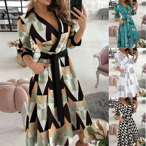 New fashion V-neck printing lapel tie long-sleeved dress with belt NHJC364663's discount tags
