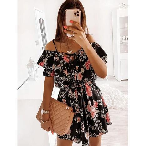 nouvelle robe à la taille sans bretelles à imprimé fronde NHJG364664's discount tags