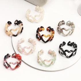 retro gradient color three-dimensional heart acrylic ring NHNZ363056