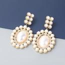 retro alloy diamond inlaid pearl geometric earrings  NHJE363212
