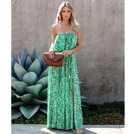 robe fendue à volants à épaules dénudées et imprimé à la mode NHJG364000's discount tags