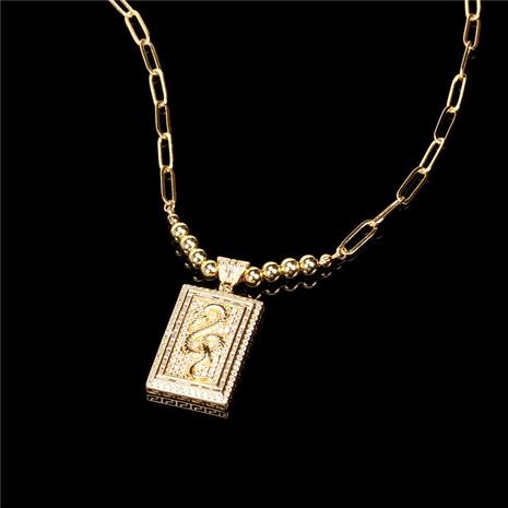 Collier pendentif croix serpent en zircon rétro NHPY363278's discount tags